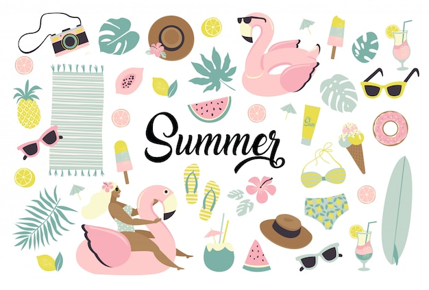 Set of cute summer icons.