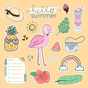 Set of cute summer sticker drawing collection with flamingo