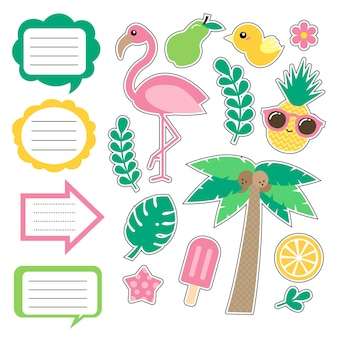 Set of cute summer style daily planner, note cards, stickers. school, baby scrapbook, to do list, diary cards, planner printable template. vector illustration. flat style. good for kids.