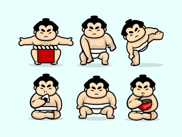 Set of cute sumo character design illustration template