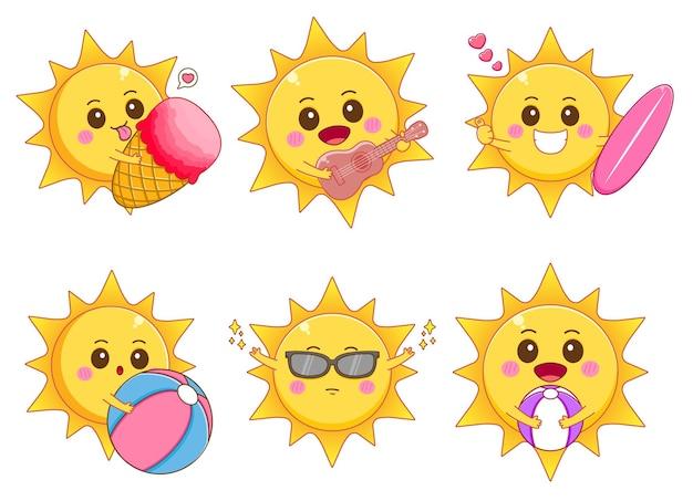Set of cute sun with summer concept cartoon illustration