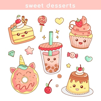 Set of cute sweet food desserts sticker icon in kawaii style illustration