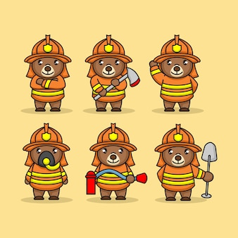 Set of cute teddy bear with firefighter costume