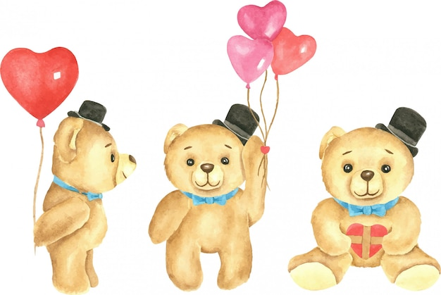 Set of cute teddy bears with heart baloons and presents watercolor illustration.