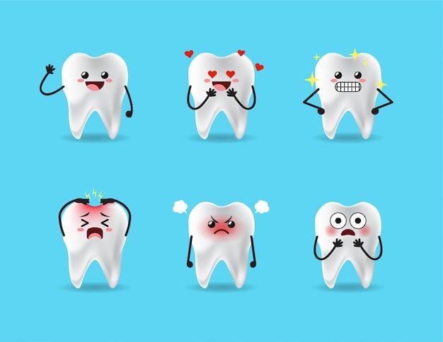 Set of cute teeth expression design