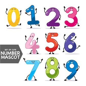 Set of cute text number mascot design illustration