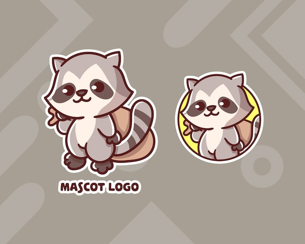 Set of cute thief racoon mascot logo with optional appearance.