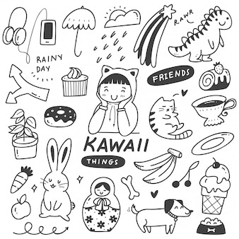 Set of cute things doodles