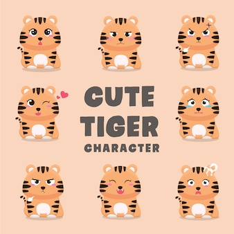 Set of cute tiger cartoon characters