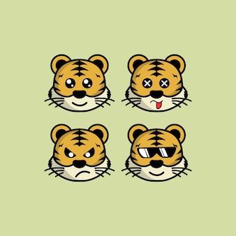 異なる表現ベクトルイラストでかわいい虎漫画の頭のキャラクターを設定します