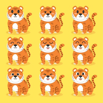 Set of cute tiger flat design illustration