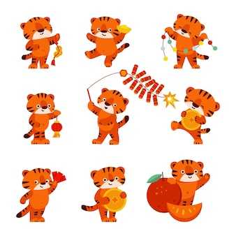 Set of cute tigers happy chinese new year isolated on a white background