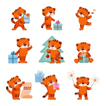 Set of cute tigers happy new year isolated on a white background