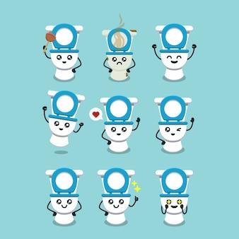 Set of cute toilet mascot  illustration