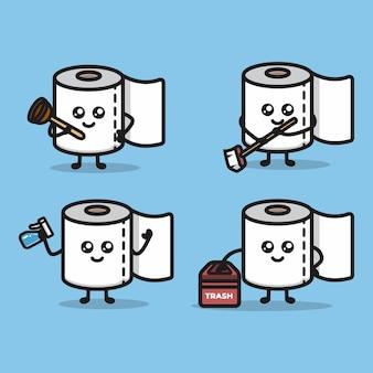 Set of cute toilet paper mascot design illustration vector template