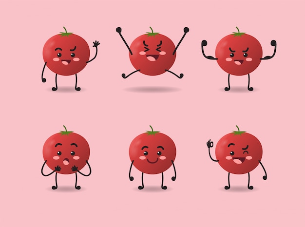 Set of cute tomato expression design