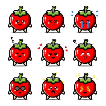 Set of cute tomato with expression cartoon character