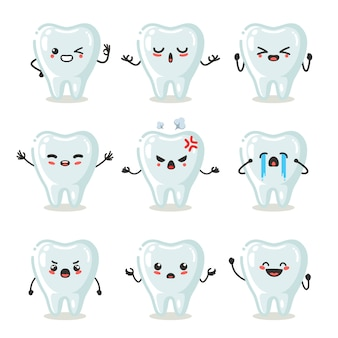 Set of cute tooth character use for illustration or mascot