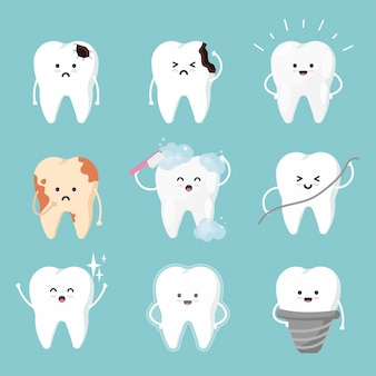 Set cute tooth characters in flat style. dental collection - brushing, plaque, caries hole, cleaning, stains and healthy teeth.