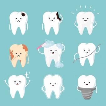 フラットスタイルでかわいい歯のキャラクターを設定します。歯のコレクション-ブラッシング、プラーク、虫歯の穴、クリーニング、汚れ、健康な歯。