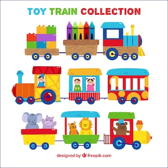 Set of cute toy trains with characters
