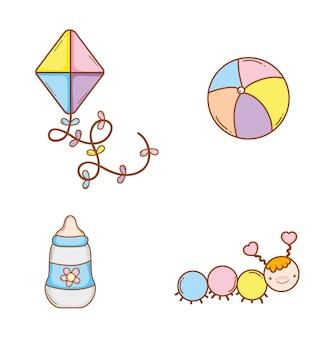 Set cute toys entertainment design