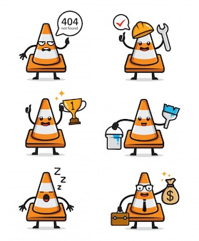Set of cute traffic cone character
