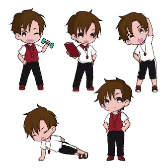 Set cute trainer cartoon character., job concept.
