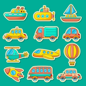 Set of cute transportation toys