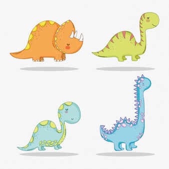 Set cute triceratops with diplodocus and brontosaurus wildlife