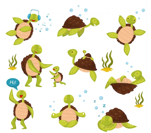 Set of cute turtles in different actions swimming, listening music, relaxing, saying hi, meditating in lotus position