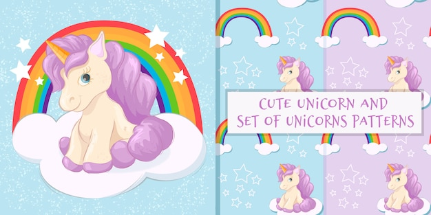 Set of cute unicorn on a cloud and patterns