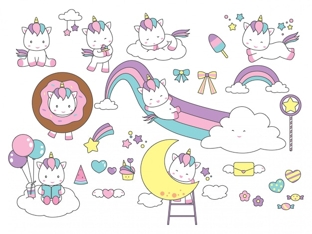 Set of cute unicorn fantasy design element