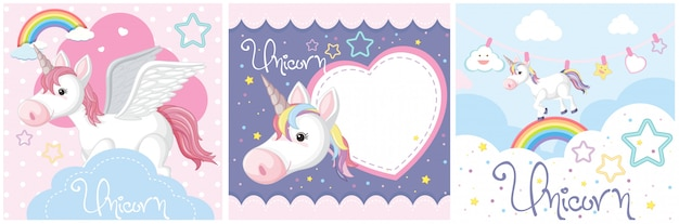 Set of cute unicorn or pegasus in pastel color