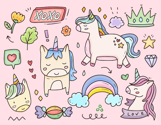 Set of cute unicorn sticker cartoon doodle drawing set collection