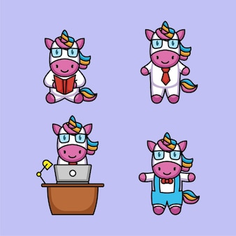 Set of cute unicorn student nerd mascot