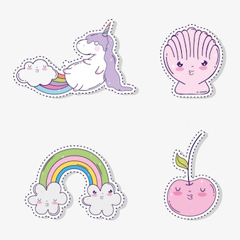 Set cute unicorn with kawaii apples and shell with clouds rainbow