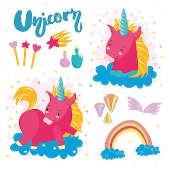 Set cute unicorn