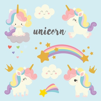 Set of cute unicorn.