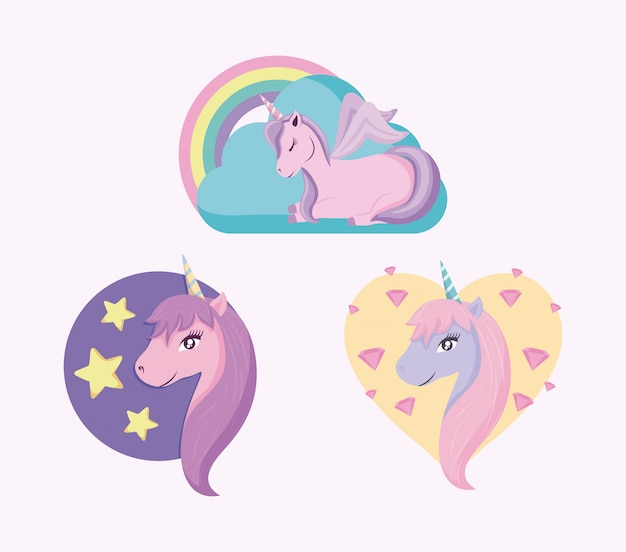 Set of cute unicorns fairy tale