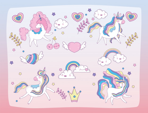 Set of cute unicorns and graphic resources,