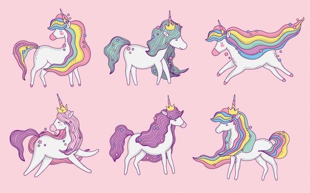 Set of cute unicorns,