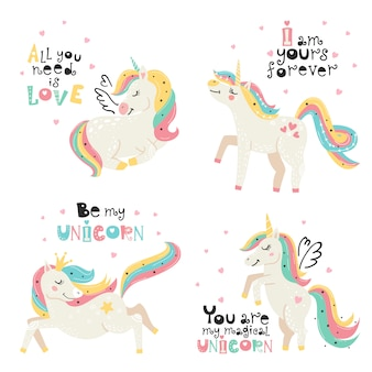 Set of cute unicorns