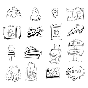 Set of cute vacation or travel icons with doodle style