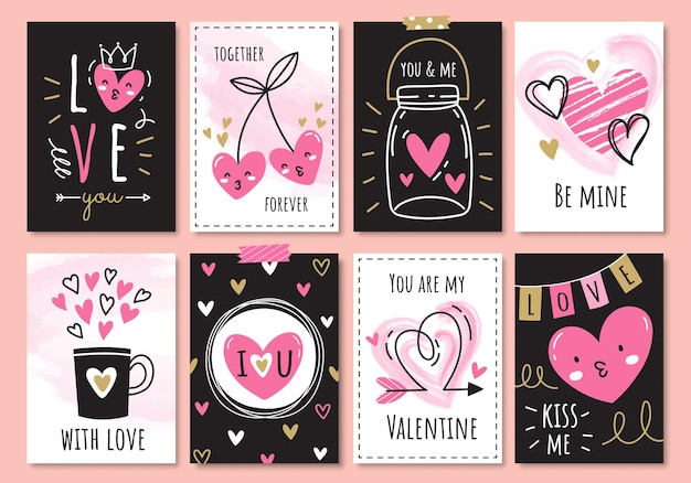 Set of cute valentine cards in doodle style.