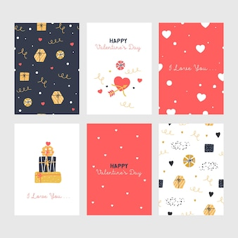 Set of cute valentines cards with gifts.