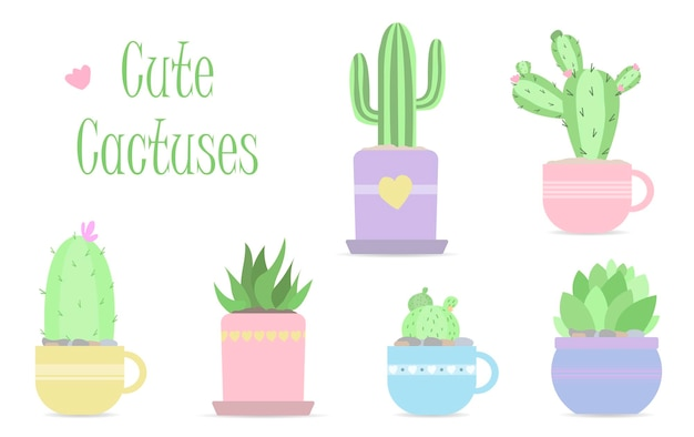 Set of cute vector cactuses in pastel colors flat vector illustration in modern design