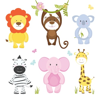 Set of cute vector cartoon wild animals with a monkey hanging from a branch  lion  pink elephant  koala bear  zebra and giraffe suitable for kids illustrations isolated on white