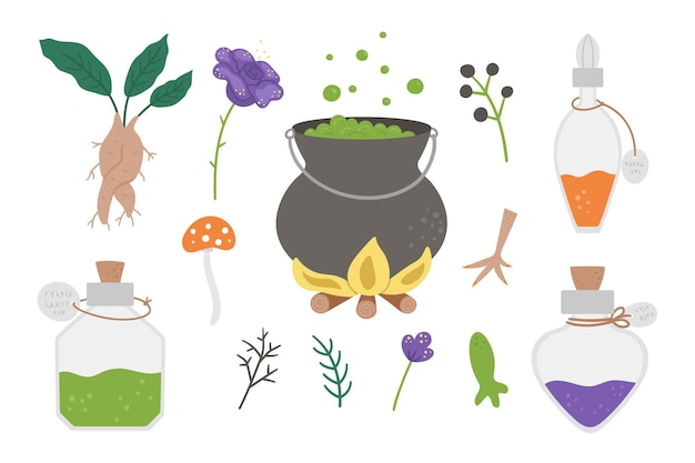 Set of cute vector witchcraft elements magic potion making objects halloween icons collection