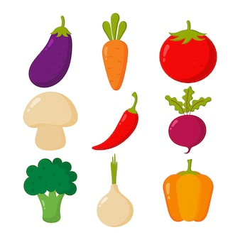 Set of cute vegetable icons kawaii style isolated on white.